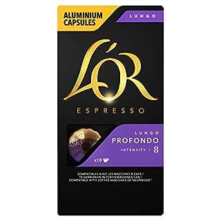 L'Or Espresso Café Lungo Profondo - Intensité 8 - 50 Capsules en Aluminium Compatibles avec les Machines Nespresso®* (Lot de 5X10 capsules)