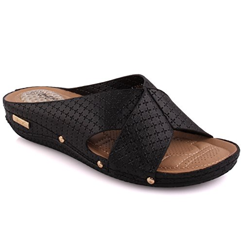 Unze Women 'Isole' Kreuz über bequeme Open Toe Slip auf niedriger Absätze Casual Slipper Schuhe Größe 3-8 - 05-1 Schwarz