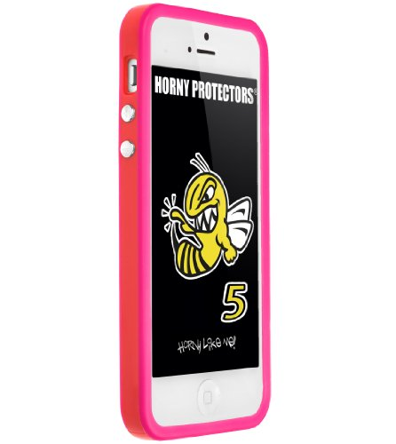 Horny Protectors Cover Case Bumper Schutzhülle für Apple iPhone 5 TPU Silikon lila/schwarz rot - rosa