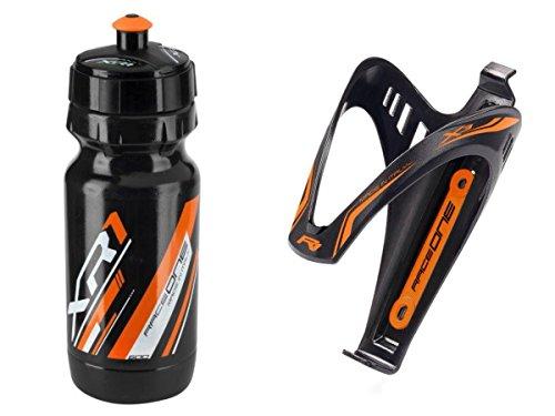 RaceOne.it - KIT Fluo Race Duo: Borraccia XR1 + Portaborraccia X3 ideale per Bici Race/MTB / Gravel/Trekking Bike. Capacità: 600 CC. Colore NERO/ORANGE Fluo. 100% MADE IN ITALY (RO_KIT_2_X3_FLUO_OFL)