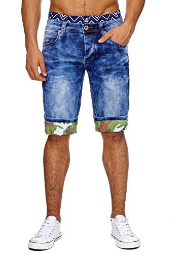 Herren Jeans-Shorts · in Regular Fit mit Used Details, Crumble Crinkle Acid Washed, Bermuda mit geradem Bein (Straight Leg) und Camouflage Print · H1867 von Jaylvis (Leg Bermuda)