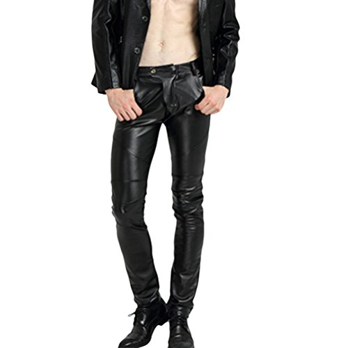 Zhhlaixing Stylish Hombres Elastic Cuero de PU Skinny Pantalones Slim Fit Velvet Lined Motorcycle Trousers With Multi Pockets