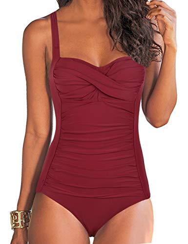 Hilor Damen Einteilige Badeanzüge Front Twist Badeanzug Bauch Kontrolle Bademode Retro Inspiriert Monokini Rot 44
