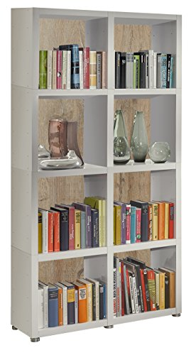 Bücherregal Raumteiler READY 42R in Weiß Seidenmatt mit Rückwand in Castle Oak