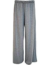 d8e8a46aedf Funky Fashion Shop Ladies Plain Wide Leg Flared Plazzo Stretch Trousers  Full Length Pants Plus Size
