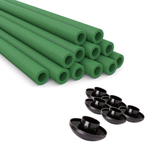 Ampel 24 Stangenschutz für Trampolin Netzpfosten und Endkappen, 12 Schaumrollen grün im Set mit 6 Abdeckkappen, Ersatzteile ausreichend für 6 Stangen