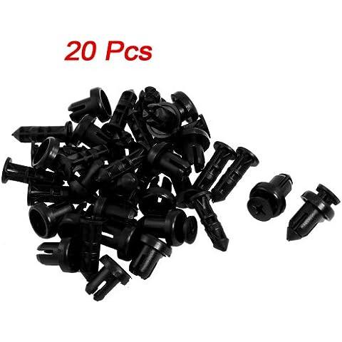 SODIAL(R) 20 x Remache de Plastico Agujero 9mm Tipo de Empuje Tornillo - Negro