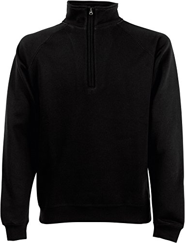 Fruit of the loom sweat à manches raglan 62–032–0 zip 1/4 Noir - Noir