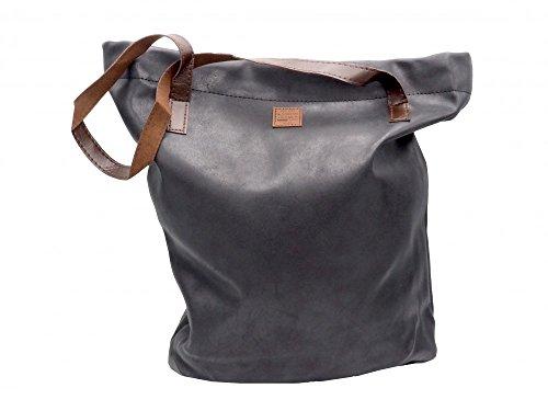 Unbekannt Tasche Shopper Lederoptik Handtasche Shoppingtasche Damentasche, Farbe:Schwarz (Fleece-handtasche)