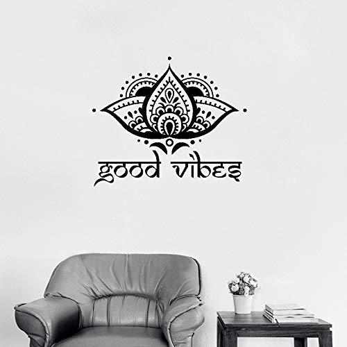 zqyjhkou Ankünfte Gute Stimmung Lotus Blume Decals Wandaufkleber Kunst Yoga Studio Wandtattoo Vinyl Boho Stil Dekor Für Wohnzimmer S 50 cm x 42 cm