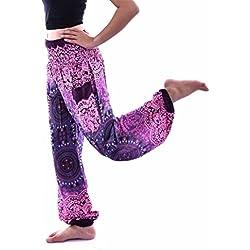 Mujer Pantalón étnica Aladin Harén Pant Aladdin Hippie Yoga Pantalones Bombachos de Yoga Muy Cómodos y de Corte Profundo como Ropa Hippie y Pantalones cagados Pantalones (Púrpura2)