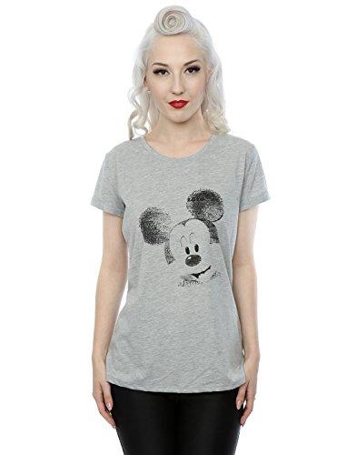 Disney Femme Mickey Mouse Text Face Roll Sleeve T-Shirt Gris Marl