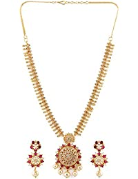 2b5b2b88d Rubans Finely Handcrafted Gold Plated CZ and Ruby Studded Necklace Set