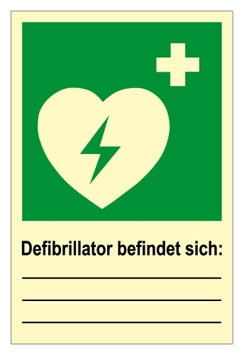 Rettungswegschild aus Aluminium - Rettungswegzeichen - Defibrillator befindet sich: - - 20 x 30 cm