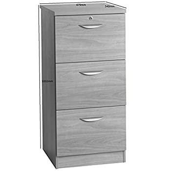 M-3DF-IN-WH White Three Drawer Wooden Effect Filing Cabinet Home Office Furniture UK Contemporary Unit For Living Room And A4 Paper Storage Foolscap Folders Suspension File