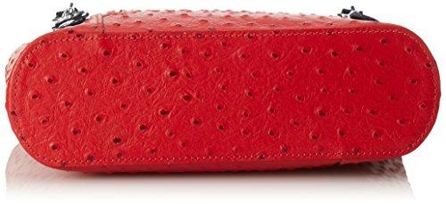 CTM Borsa da Donna a Spalla in Pelle di Struzzo, 28x30x9cm, Vera Pelle 100% Made in Italy Rosso con manico nero
