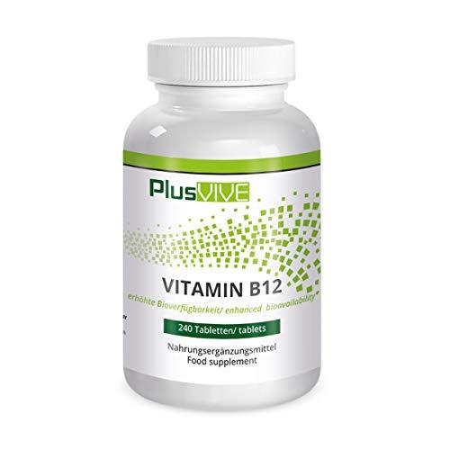 Plusvive Hochdosierte Vitamin B12-Tabletten mit verbesserter Bioverfügbarkeit, 240 Tabletten