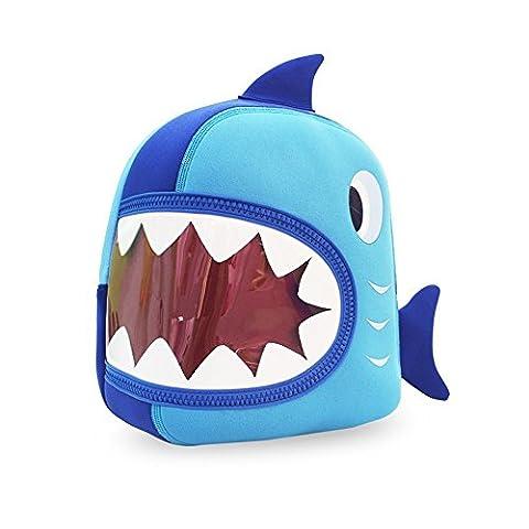 Yisibo Sacs à dos Enfants 3D Animal Sacs à dos Cartoon Mignon Sacs à dos école Voyage Randonnée pour Enfants de Nursery Garçons Filles (Requin-Big Mouth-Bleu)