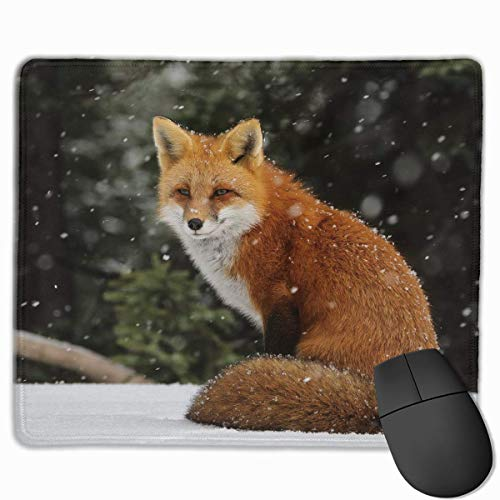 Mouse Pad Cute Fox with Snow Rectangle Rubber Mousepad 11.81 X 9.84 Inch Gaming Mouse Pad with Black Lock Edge