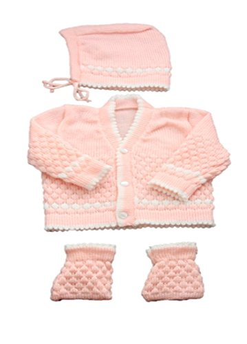 Baby Bucket New Born Baby Woollen Cardigan 3Pcs Suit (Peach)  available at amazon for Rs.255