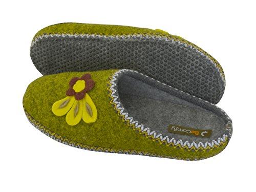 Pantofole In Feltro Feltro Feltro Infeltrito Con Suola Antiscivolo Pantofole Da Donna Unisex Regalo Da Uomo Fiore Grigio (opzionale) Modello Fu04 Verde