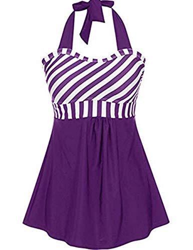 FeelinGirl Damen Badekleid Plus Size Geblümt Figurformender Einteiler Badeanzug Swimsuit XL Lila - Plus Size Bügel-höschen