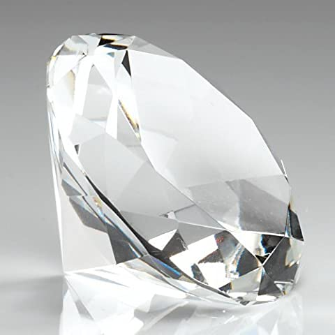 100mm Plain Clear Glass Diamond Shapped Paperweight Complete with Gift