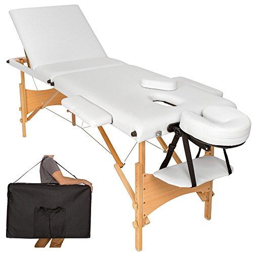 TecTake Camilla de masaje mesa de masaje banco 3 zonas plegable + bolsa - disponible en diferentes colores - (Blanco | No. 401467)