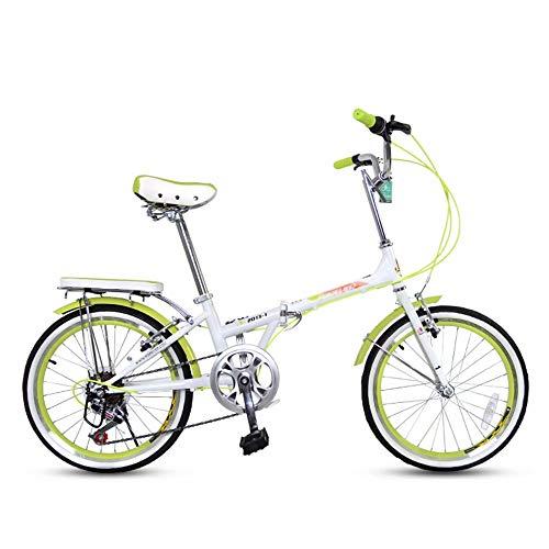 WEIFAN Klapprad für Erwachsene und ultraleichtes tragbares kleines Fahrrad für Männer und Frauen, 7-Gang, 20-Zoll-Laufrad, (Grün)