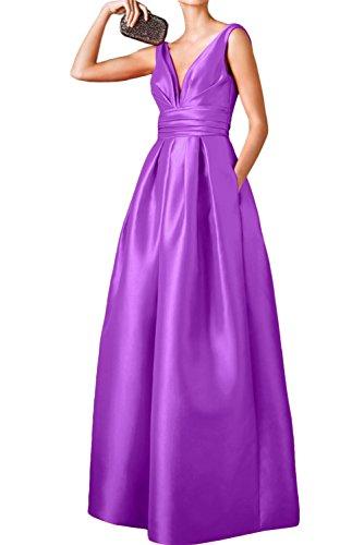 Ivydressing Damen Liebling Rueckenfrei Satin Rueckenfrei Aendkleider Festkleid Promkleider Violett