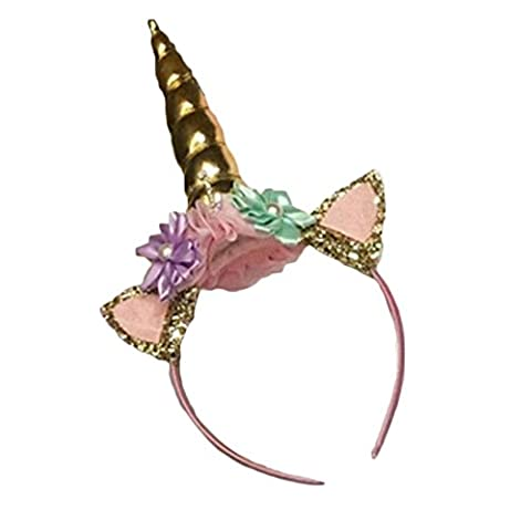 DouTree Magical Unicorn Horn Head Party Cheveux Kid Headband Fancy Dress Cosplay Decorative (Or)