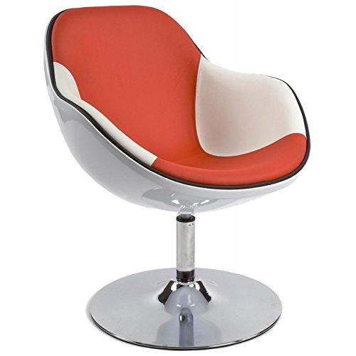 Alterego - Fauteuil design 'KOK' pivotant blanc rouge style retro