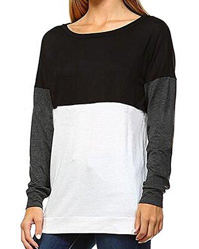 Auxo Damen Langarm Lose Party Club Bluse Hemd Langshirt T-Shirt Oberteil Tops Als Abbildung