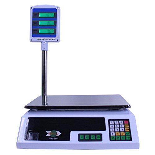 Báscula digital con 7 memorias configurables para almacenar la información de los productos que más pese. el plato de pesaje esta hecho en acero inoxidable para facilitar la limpieza y dispone de una torre LCD para que el cliente pueda ver los costos...