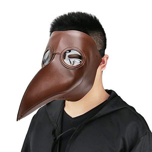 Cusfull Schnabelmaske Mittelalter Pest-Maske Doktor Arzt Kopfmaske Steampunk Kostüm Zubehör für Erwachsene Halloween Party Fasching Karneval PU Leder Braun (Pest Arzt Maske Kostüm)