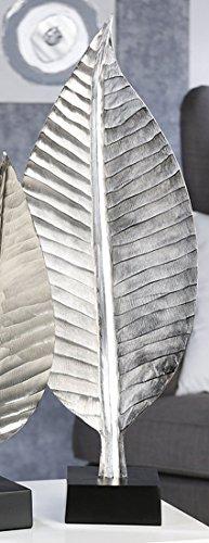 Casablanca Dekoobjekt Skulptur Blatt 77cm Aluminium auf Sockel Dekofigur Handarbeit Statue -