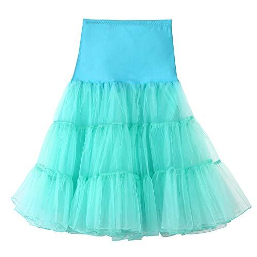 Andouy Damen Tutu Rock Tüll Organza A-Linie Petticoat Balletttanz Layred Kostüm Dress-up Größe 34-52(48-52,Türkis)