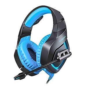 Healifty K1-B Gaming Headset Verdrahtete Stereo LED Kühles Licht Noise-Cancelling Gaming Kopfhörer mit Mikrofon für PS4 Xbox Laptop Computer Handy (Blau)
