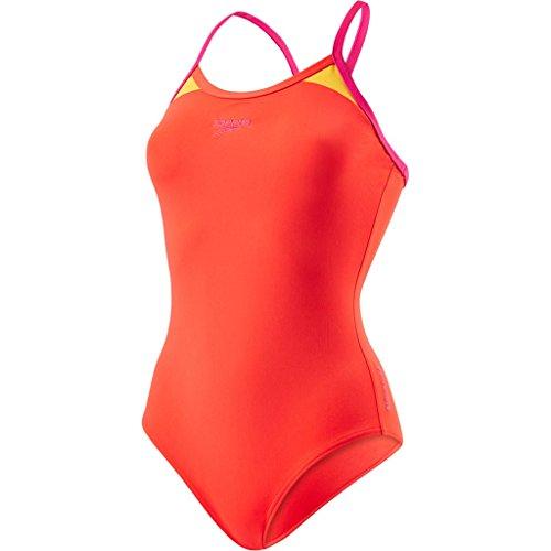 Speedo Damen Thinstrap Racerback Badeanzug mit Passe Swimwear, Lava Red/Electric Pink/Mango, 40