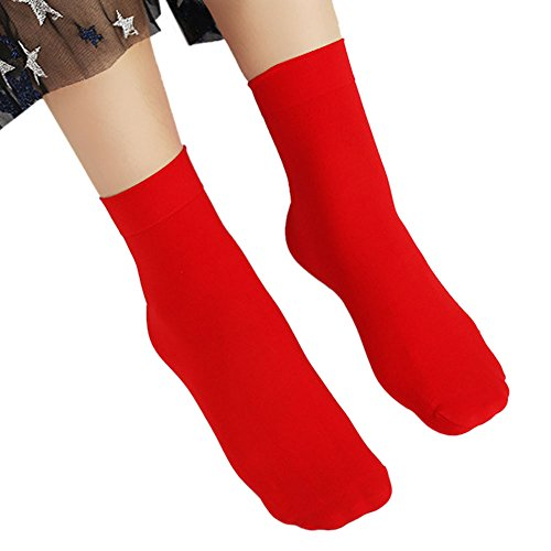 UJUNAOR Frau Solide Socken Mädchen Midrohrsocken Elasthan Herbst Socke(Rot,One Size)
