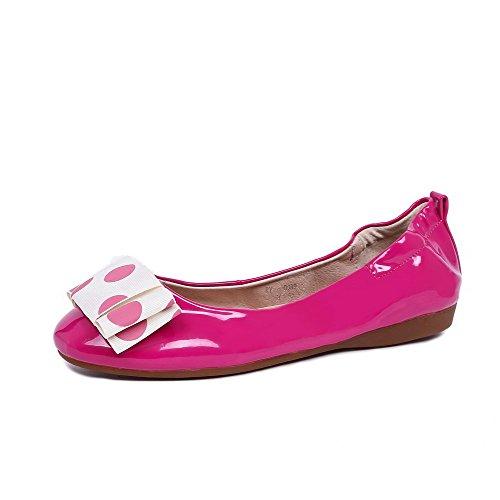 VogueZone009 Femme Matière Souple Tire Rond à Talon Bas Couleur Unie Chaussures Légeres Rose
