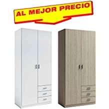 ARMARIO ROPERO DE DOS PUERTAS + 3 CAJONES COLECCIÓN MUNDOO, MEDIDAS 100X215 CM - OFERTAS DE HOGAR ¡AL MEJOR PRECIO! -DISPONIBLE EN VARIOS COLORES(Sable)