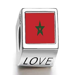 perle charm femme avec love du drapeau de Maroc