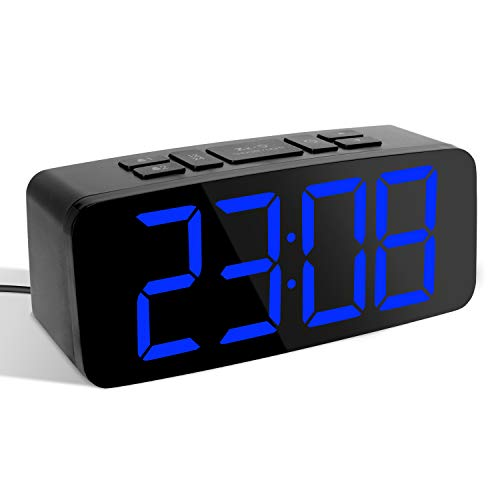 YISSVIC Digital Alarm Clock Alarm Clock with Large LED Display Equipped with 2 Alarms and 2 Alarm Sounds Snooze Function and Adjustable Brightness of 6 Levels Formats 12 / 24 Hours 2019 Version
