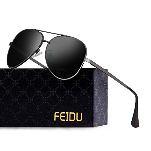 FEIDU Polarisierte Pilotenbrillen Männer Metallrahmen Frauen FD9009 (schwarz/Pistole) (Frauen Sonnenbrille, Linse Schwarze Dunkle)