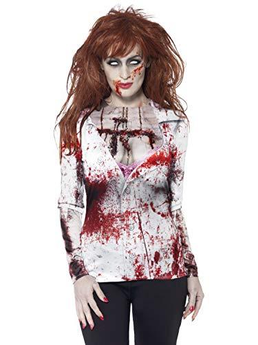 erdbeerclown - Damen Frauen Kostüm photorealistisches 3D Shirt im blutigen Zombie Look, Bloody Horror Zombie Shirt, perfekt für Halloween Karneval und Fasching, M, Weiß