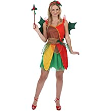 Ladies Christmas Holly Elf Fairy Fancy Dress Costume Xmas Party