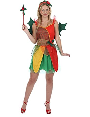 Adult Christmas Fairy Costume Holly Red Green Theme Ladies Fancy Dress Sparkly Decoration Wings Wand and Headband Medium