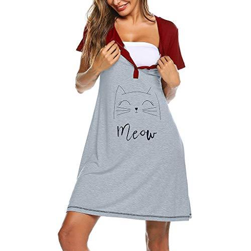 catmoew Nachthemd Damen Schlafen Kleid Pyjama Umstandspyjamas für Schwangere Kurzarm Schön Komfortabel Frauen Still-Nachthemd für Schwangere Still-Stillkleid für Schwangere - Schlafen Kleid