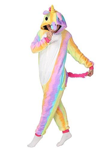 Tierkostüme (Einhorn Kostüm Pyjama Jumpsuit Cosplay Schalfanzug Festliche Anzug Flanell Tierkostüm Kartonkostüm Tierschalfanzug - Mescara (S,)